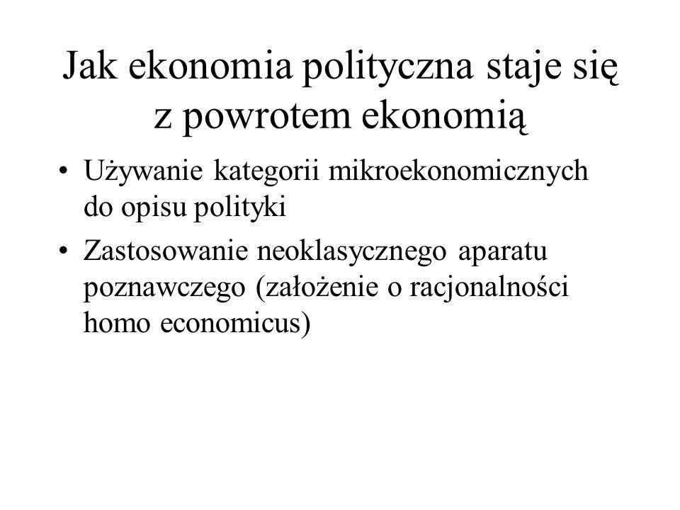 Jak ekonomia polityczna staje się z powrotem ekonomią Używanie kategorii mikroekonomicznych do opisu polityki Zastosowanie neoklasycznego aparatu pozn