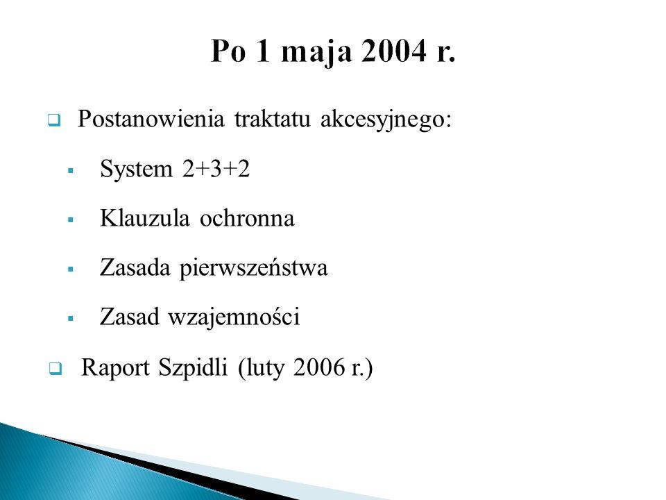 Postanowienia traktatu akcesyjnego: System 2+3+2 Klauzula ochronna Zasada pierwszeństwa Zasad wzajemności Raport Szpidli (luty 2006 r.)