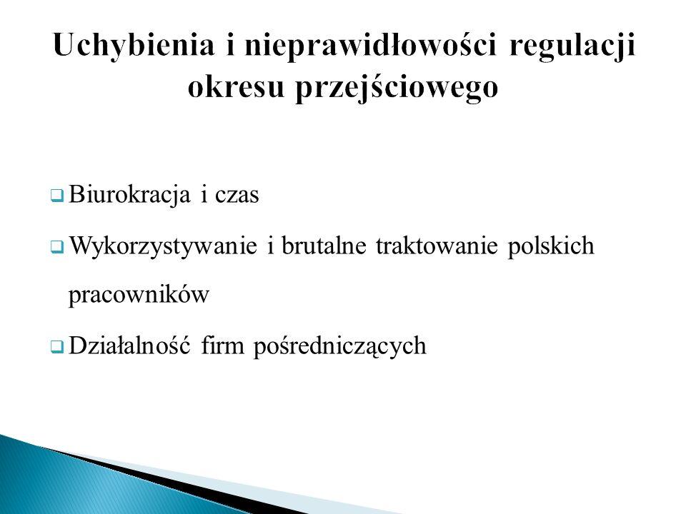 Biurokracja i czas Wykorzystywanie i brutalne traktowanie polskich pracowników Działalność firm pośredniczących