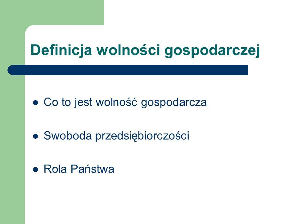 Definicja wolności gospodarczej Co to jest wolność gospodarcza Swoboda przedsiębiorczości Rola Państwa
