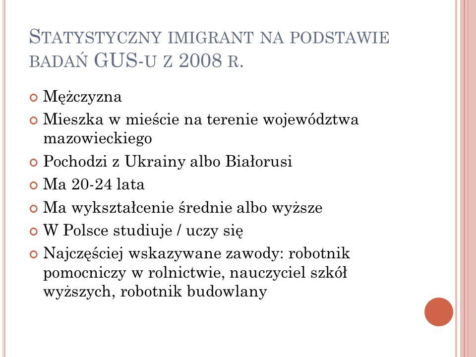 S TATYSTYCZNY IMIGRANT NA PODSTAWIE BADAŃ GUS- U Z 2008 R.