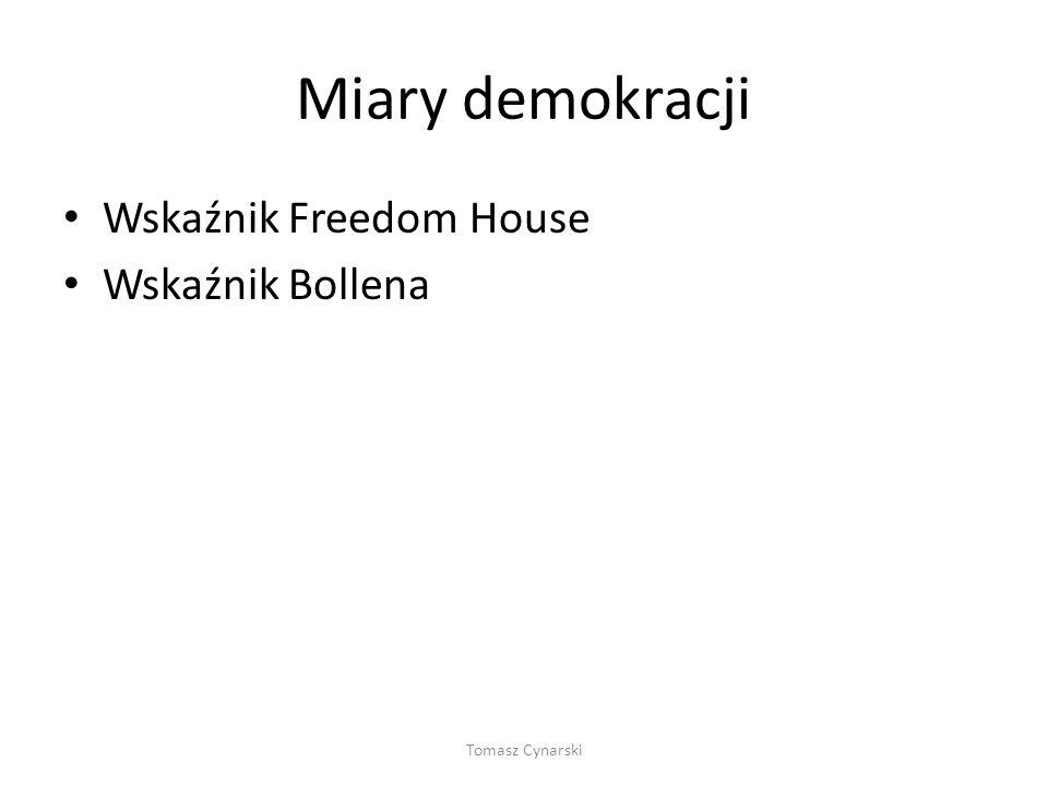 Miary demokracji Wskaźnik Freedom House Wskaźnik Bollena Tomasz Cynarski