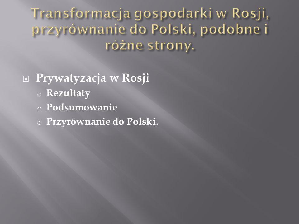 Prywatyzacja w Rosji o Rezultaty o Podsumowanie o Przyrównanie do Polski.