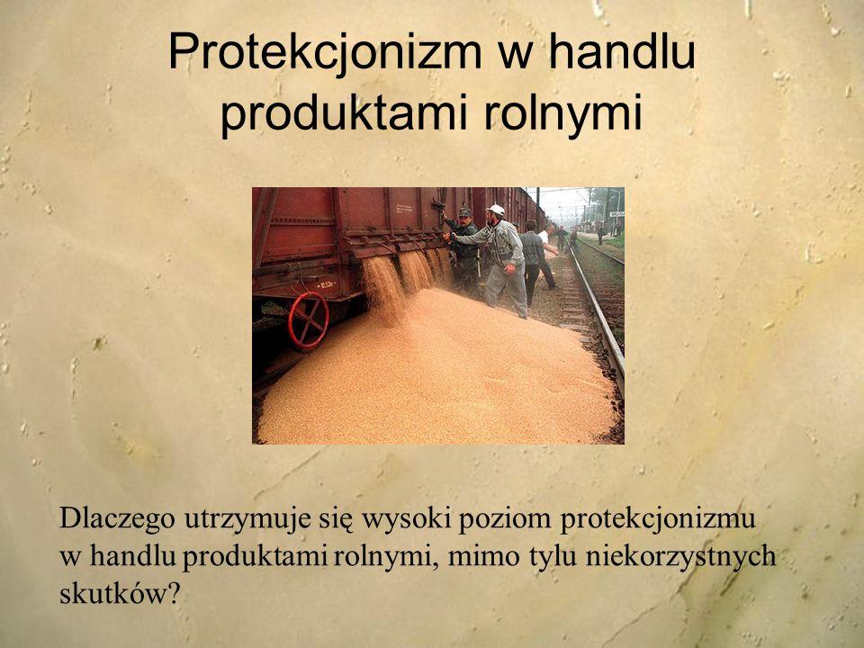 Protekcjonizm w handlu produktami rolnymi Dlaczego utrzymuje się wysoki poziom protekcjonizmu w handlu produktami rolnymi, mimo tylu niekorzystnych sk