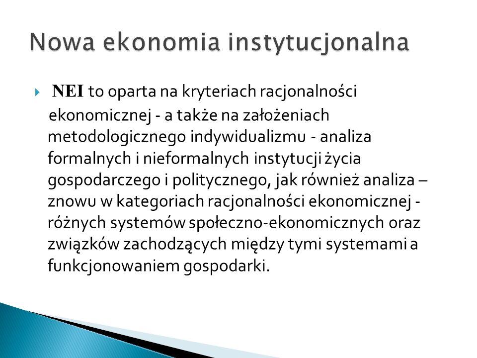 NEI to oparta na kryteriach racjonalności ekonomicznej - a także na założeniach metodologicznego indywidualizmu - analiza formalnych i nieformalnych instytucji życia gospodarczego i politycznego, jak również analiza – znowu w kategoriach racjonalności ekonomicznej - różnych systemów społeczno-ekonomicznych oraz związków zachodzących między tymi systemami a funkcjonowaniem gospodarki.