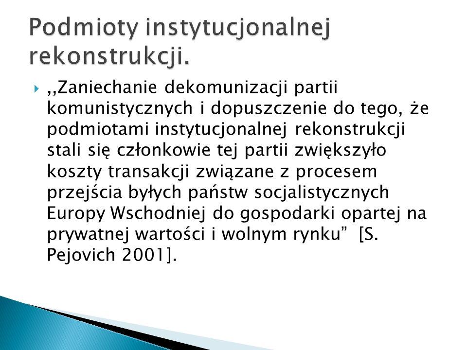,,Zaniechanie dekomunizacji partii komunistycznych i dopuszczenie do tego, że podmiotami instytucjonalnej rekonstrukcji stali się członkowie tej partii zwiększyło koszty transakcji związane z procesem przejścia byłych państw socjalistycznych Europy Wschodniej do gospodarki opartej na prywatnej wartości i wolnym rynku [S.
