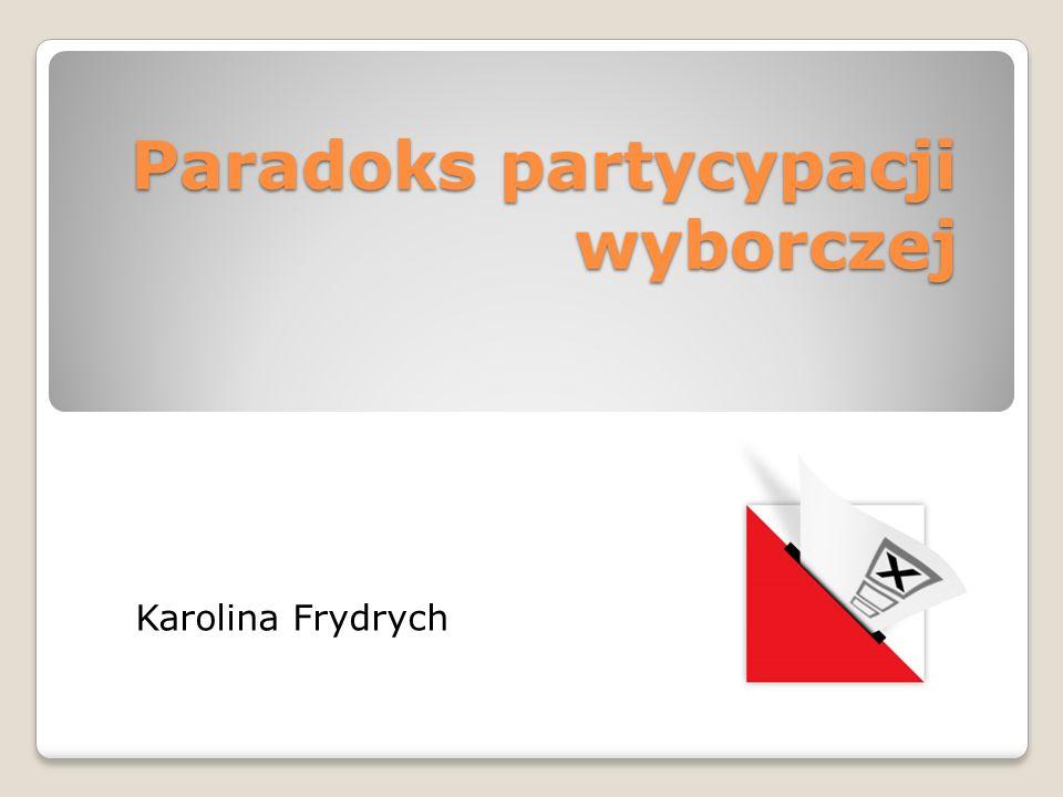 Paradoks partycypacji wyborczej Karolina Frydrych