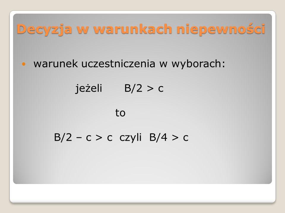 Decyzja w warunkach niepewności warunek uczestniczenia w wyborach: jeżeli B/2 > c to B/2 – c > c czyli B/4 > c