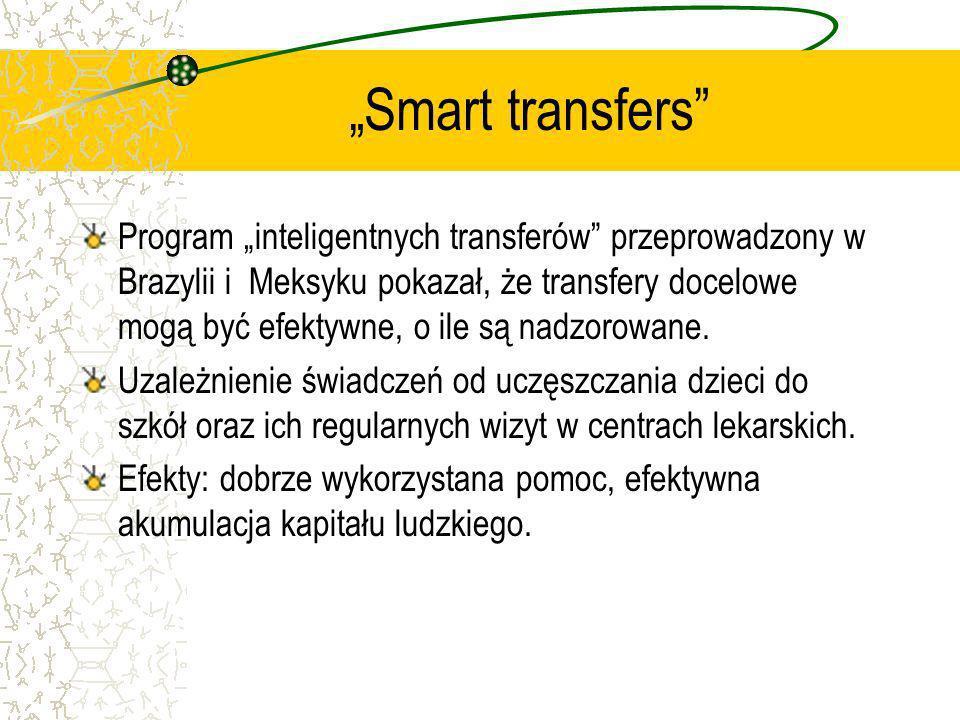 Smart transfers Program inteligentnych transferów przeprowadzony w Brazylii i Meksyku pokazał, że transfery docelowe mogą być efektywne, o ile są nadz