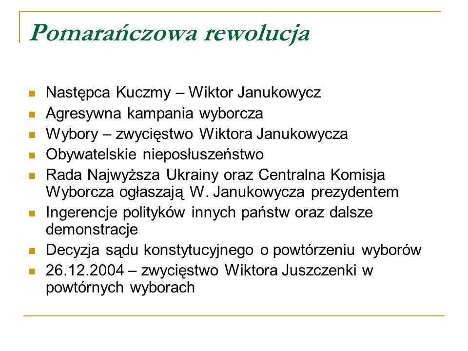 Pomarańczowa rewolucja Następca Kuczmy – Wiktor Janukowycz Agresywna kampania wyborcza Wybory – zwycięstwo Wiktora Janukowycza Obywatelskie nieposłuszeństwo Rada Najwyższa Ukrainy oraz Centralna Komisja Wyborcza ogłaszają W.