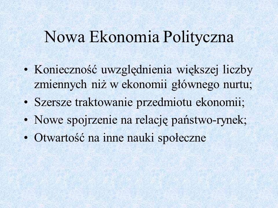 Nowa Ekonomia Polityczna Konieczność uwzględnienia większej liczby zmiennych niż w ekonomii głównego nurtu; Szersze traktowanie przedmiotu ekonomii; N