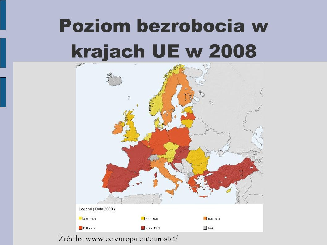 Poziom bezrobocia w krajach UE w 2008 Źródło: www.ec.europa.eu/eurostat/