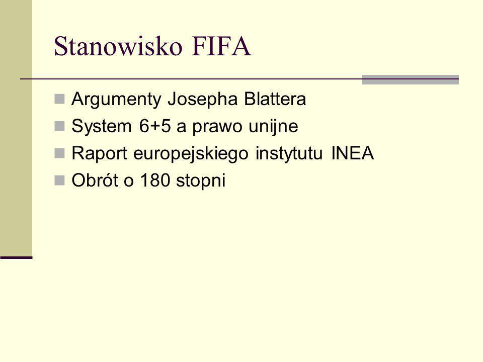 Stanowisko FIFA Argumenty Josepha Blattera System 6+5 a prawo unijne Raport europejskiego instytutu INEA Obrót o 180 stopni