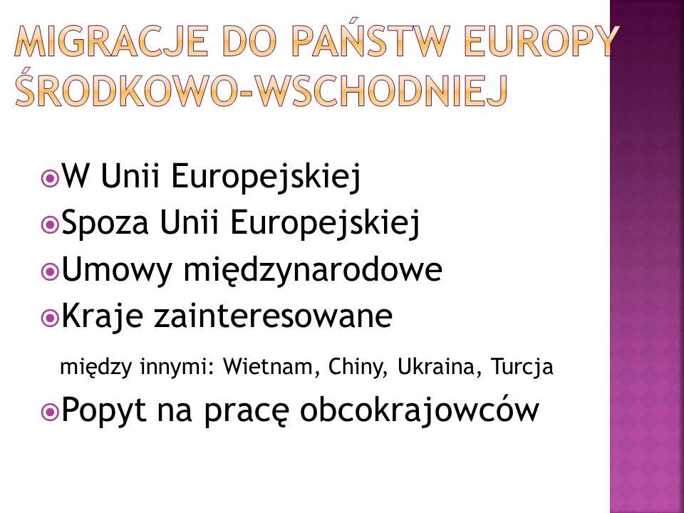 W Unii Europejskiej Spoza Unii Europejskiej Umowy międzynarodowe Kraje zainteresowane między innymi: Wietnam, Chiny, Ukraina, Turcja Popyt na pracę ob