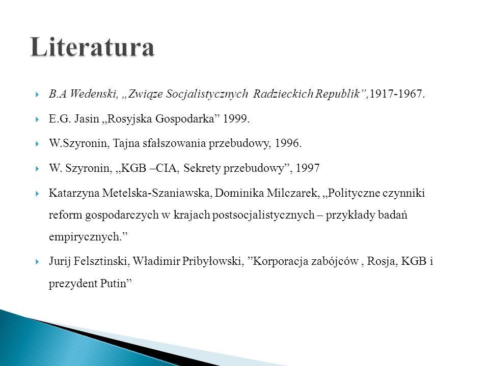 B.A Wedenski, Związe Socjalistycznych Radzieckich Republik,1917-1967. E.G. Jasin Rosyjska Gospodarka 1999. W.Szyronin, Tajna sfałszowania przebudowy,
