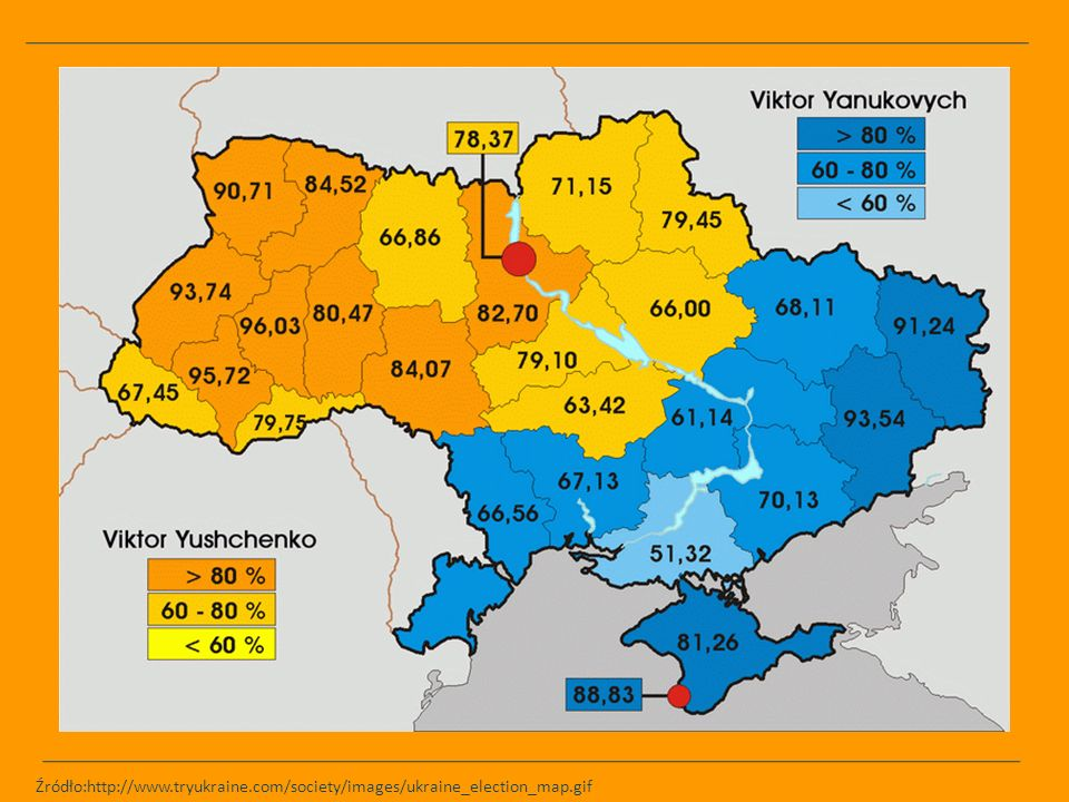 Źródło:http://www.tryukraine.com/society/images/ukraine_election_map.gif