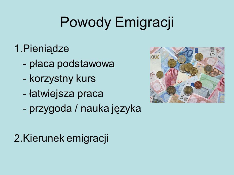Powody Emigracji 1.Pieniądze - płaca podstawowa - korzystny kurs - łatwiejsza praca - przygoda / nauka języka 2.Kierunek emigracji