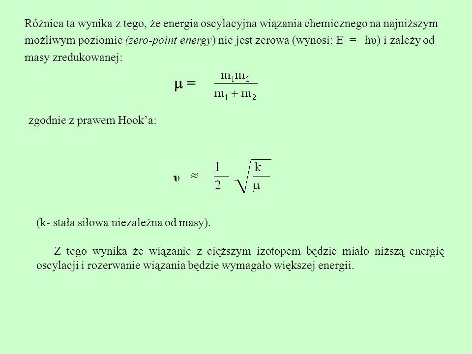 Obrazowo przedstawiono to na poniższym schemacie: Energia dysocjacji wiązań C-H i C-D Ta właśnie różnica w energiach dysocjacji jest powodem różnych szybkości procesów z udziałem izotopów.