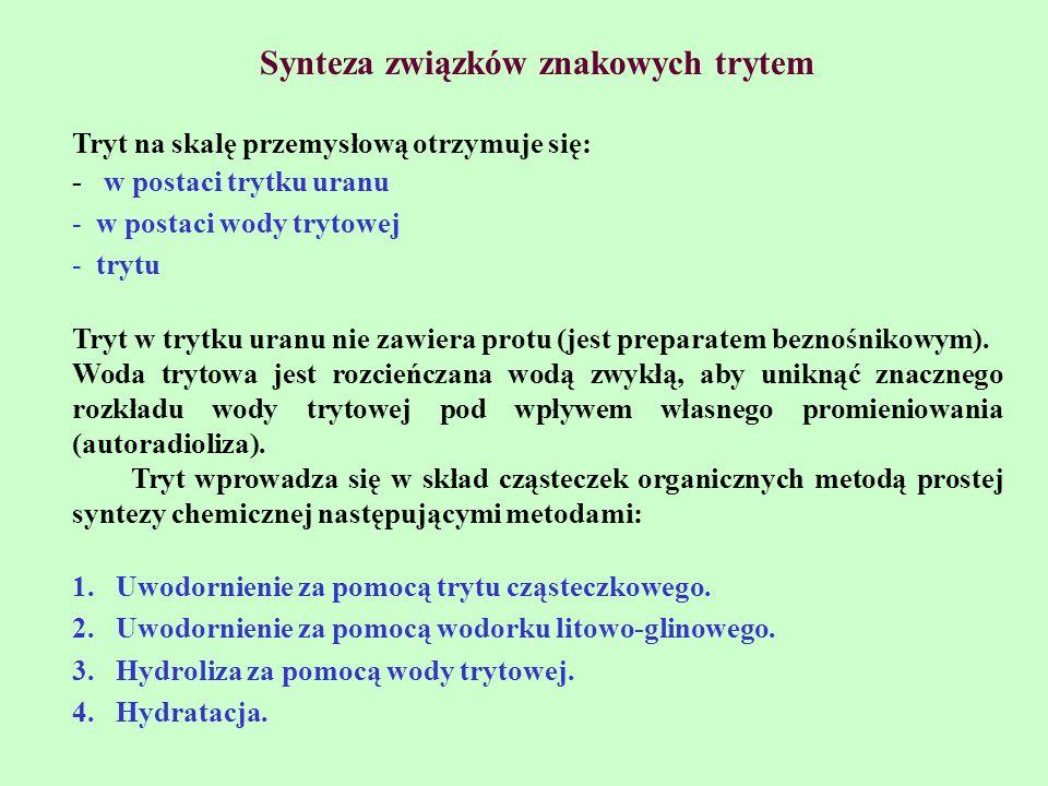 Synteza związków znakowych trytem Tryt na skalę przemysłową otrzymuje się: - w postaci trytku uranu - w postaci wody trytowej - trytu Tryt w trytku ur