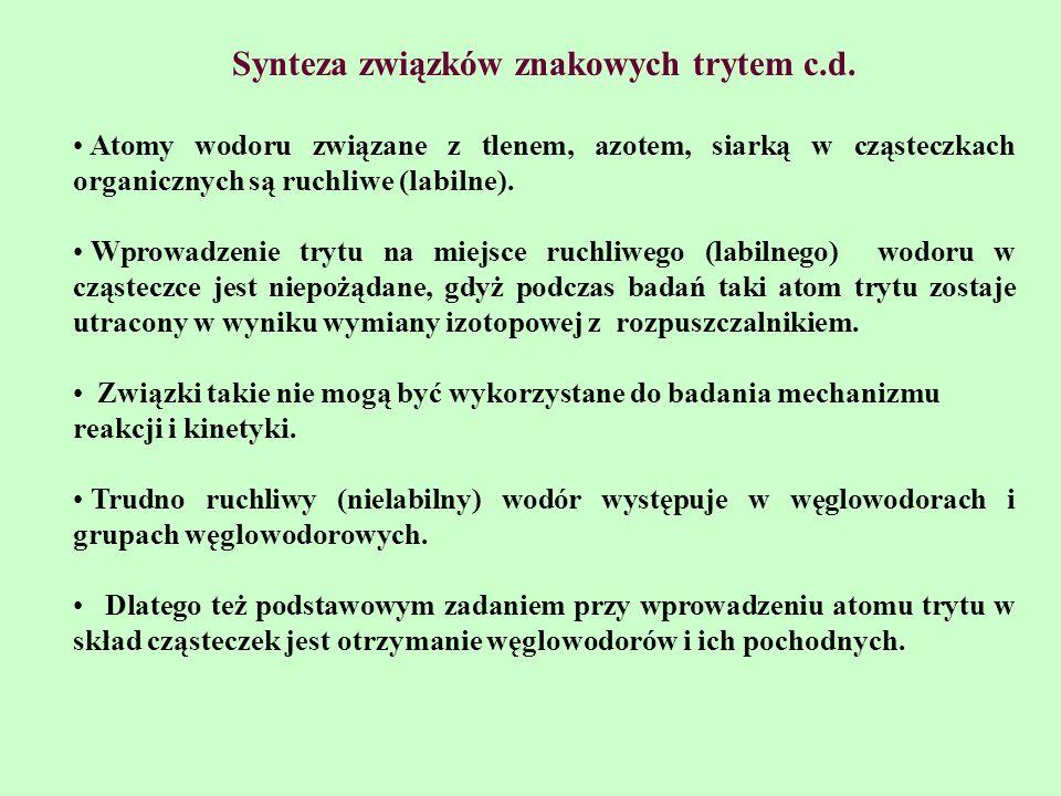 Synteza związków znakowych trytem c.d. Atomy wodoru związane z tlenem, azotem, siarką w cząsteczkach organicznych są ruchliwe (labilne). Wprowadzenie