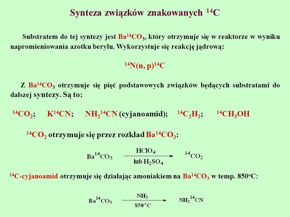 Synteza związków znakowanych 14 C Substratem do tej syntezy jest Ba 14 CO 3, który otrzymuje się w reaktorze w wyniku napromieniowania azotku berylu.