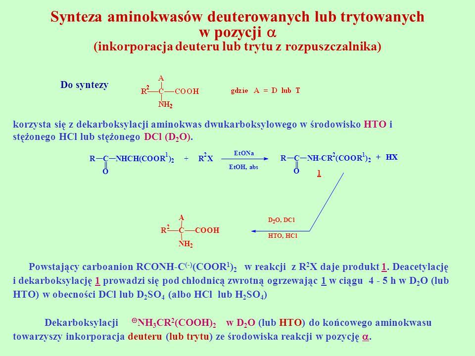 Synteza aminokwasów deuterowanych lub trytowanych w pozycji (inkorporacja deuteru lub trytu z rozpuszczalnika) Do syntezy korzysta się z dekarboksylac