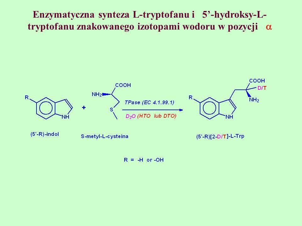 Enzymatyczna synteza L-tryptofanu i 5-hydroksy-L- tryptofanu znakowanego izotopami wodoru w pozycji