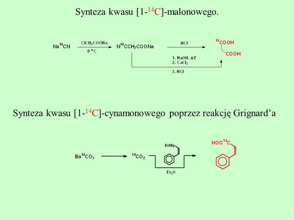 Synteza kwasu [1- 14 C]-malonowego. Synteza kwasu [1- 14 C]-cynamonowego poprzez reakcję Grignarda