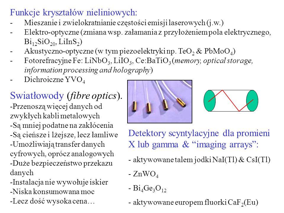 Swiatłowody (fibre optics). -Przenoszą więcej danych od zwykłych kabli metalowych -Są mniej podatne na zakłócenia -Są cieńsze i lżejsze, lecz łamliwe