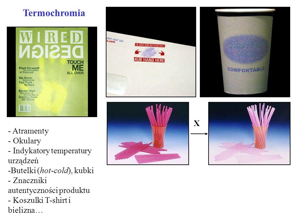 Termochromia - Atramenty - Okulary - Indykatory temperatury urządzeń -Butelki (hot-cold), kubki - Znaczniki autentyczności produktu - Koszulki T-shirt