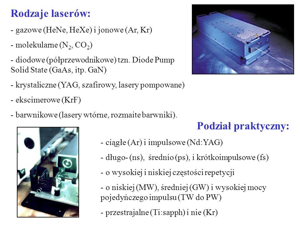 Rodzaje laserów: - gazowe (HeNe, HeXe) i jonowe (Ar, Kr) - molekularne (N 2, CO 2 ) - diodowe (półprzewodnikowe) tzn. Diode Pump Solid State (GaAs, it