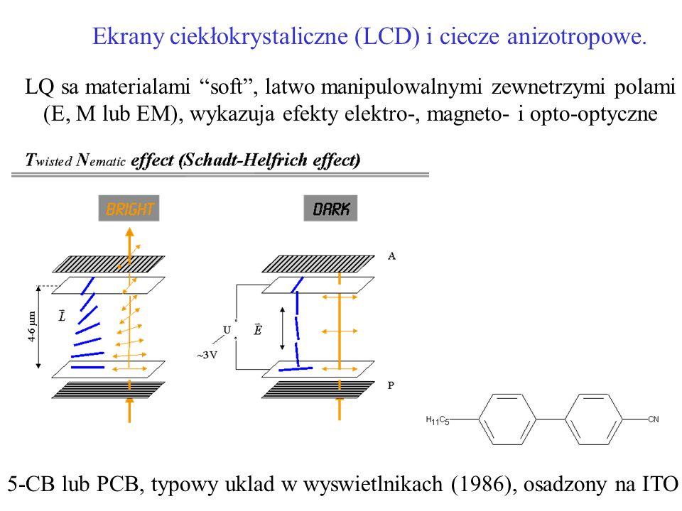 Ekrany ciekłokrystaliczne (LCD) i ciecze anizotropowe. 5-CB lub PCB, typowy uklad w wyswietlnikach (1986), osadzony na ITO LQ sa materialami soft, lat