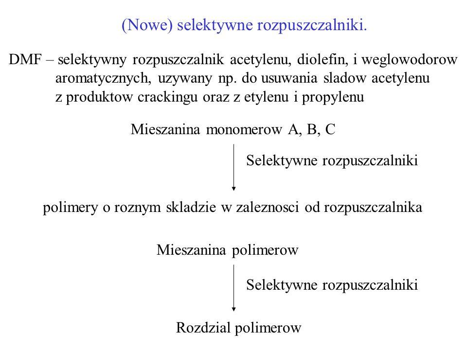 (Nowe) selektywne rozpuszczalniki. DMF – selektywny rozpuszczalnik acetylenu, diolefin, i weglowodorow aromatycznych, uzywany np. do usuwania sladow a