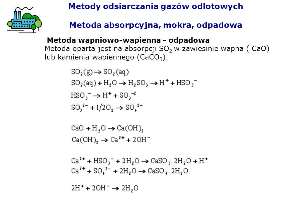 Metoda wapniowo-wapienna - odpadowa Metoda oparta jest na absorpcji SO 2 w zawiesinie wapna ( CaO) lub kamienia wapiennego (CaCO 3 ). Metody odsiarcza