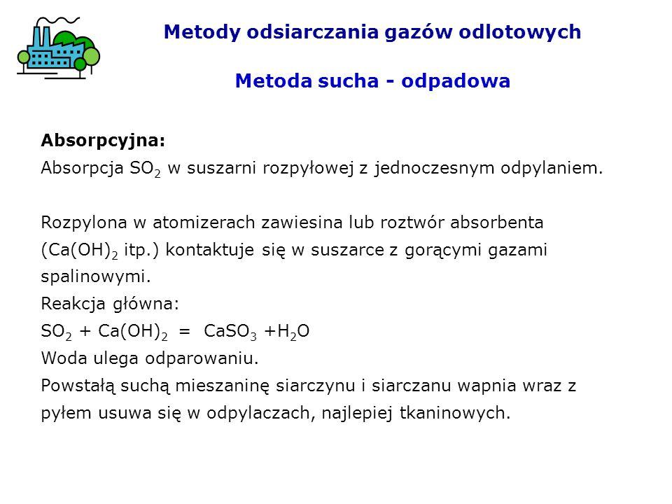 Absorpcyjna: Absorpcja SO 2 w suszarni rozpyłowej z jednoczesnym odpylaniem. Rozpylona w atomizerach zawiesina lub roztwór absorbenta (Ca(OH) 2 itp.)