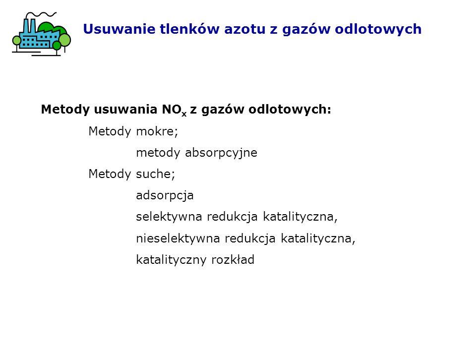 Usuwanie tlenków azotu z gazów odlotowych Metody usuwania NO x z gazów odlotowych: Metody mokre; metody absorpcyjne Metody suche; adsorpcja selektywna