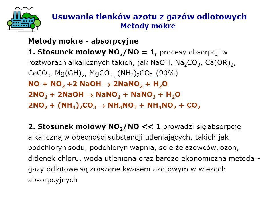 Usuwanie tlenków azotu z gazów odlotowych Metody mokre Metody mokre - absorpcyjne 1. Stosunek molowy NO 2 /NO = 1, procesy absorpcji w roztworach alka
