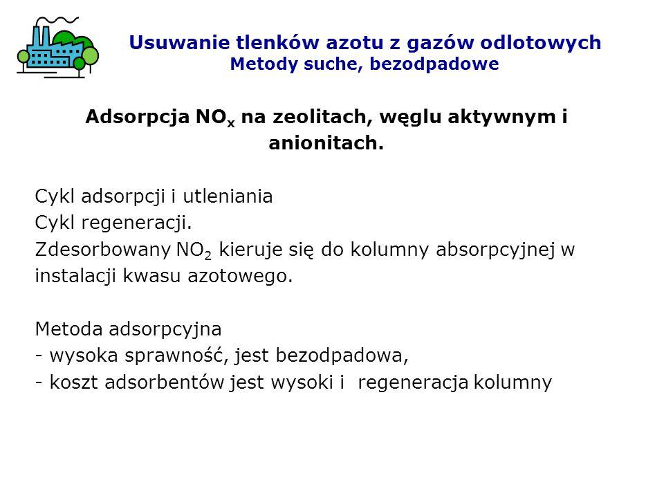 Adsorpcja NO x na zeolitach, węglu aktywnym i anionitach. Cykl adsorpcji i utleniania Cykl regeneracji. Zdesorbowany NO 2 kieruje się do kolumny absor