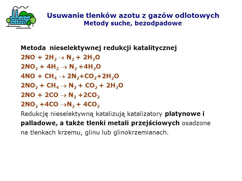 Metoda nieselektywnej redukcji katalitycznej 2NO + 2H 2 N 2 + 2H 2 O 2NO 2 + 4H 2 N 2 +4H 2 O 4NO + CH 4 2N 2 +CO 2 +2H 2 O 2NO 2 + CH 4 N 2 + CO 2 +