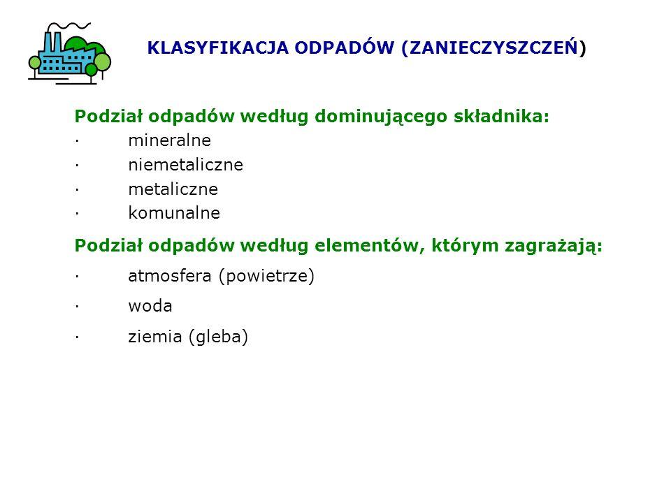 KLASYFIKACJA ODPADÓW (ZANIECZYSZCZEŃ) Podział odpadów według dominującego składnika: · mineralne · niemetaliczne · metaliczne · komunalne Podział odpa