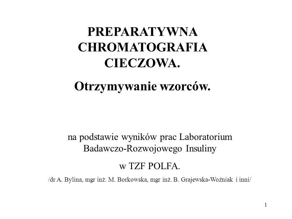 1 PREPARATYWNA CHROMATOGRAFIA CIECZOWA. Otrzymywanie wzorców. na podstawie wyników prac Laboratorium Badawczo-Rozwojowego Insuliny w TZF POLFA. /dr A.