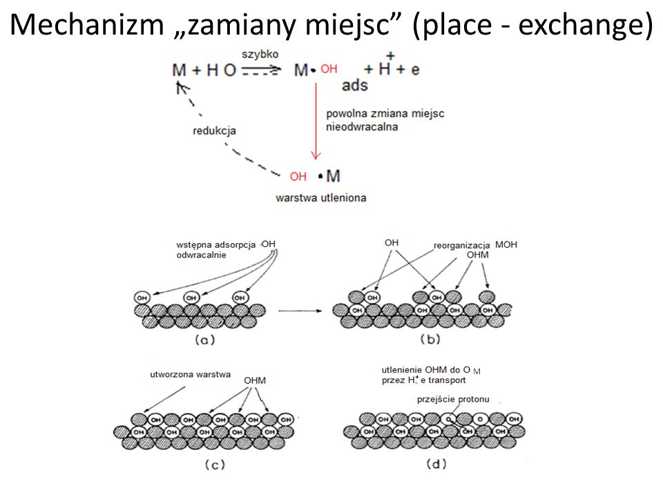 Część eksperymentalna – metody badawcze Badanie wczesnych mechanizmów utleniania (korozja/pasywacja) kobaltu metalicznego do związków Co(II) – zakres aktywny + pasywacja na krzywej polaryzacyjnej korozji Określenie mechanizmu utleniania na podstawie: -Analizy zależności prąd-czas w trakcie procesu utleniania (pik prądowy dla modelu nukleacji) -Analizy zależności ładunek utleniania-czas (zależność logarytmiczna dla modelu zamiany miejsc) Konieczność określenia wkładu aktywnego rozpuszczania metalu do całkowitego prądu/ładunku przepływającego w trakcie utleniania -> specjalne techniki pomiarowe -Chronowoltamperometria i chronoamperometria -EQCM -RRDE Elektrody przygotowywane przez elektroosadzanie Co na dysku RRDE i elektrodach EQCM (z roztworu wodnego Co(NO 3 ) 2 ).