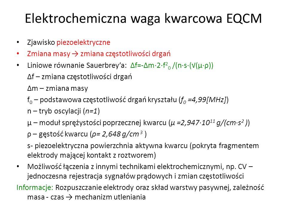 Elektrochemiczna waga kwarcowa EQCM Zjawisko piezoelektryczne Zmiana masy zmiana częstotliwości drgań Liniowe równanie Sauerbreya: f=-m·2·f 2 0 /(n·s·((μ·ρ)) f – zmiana częstotliwości drgań m – zmiana masy f 0 – podstawowa częstotliwość drgań kryształu (f 0 =4,99[MHz]) n – tryb oscylacji (n=1) μ – moduł sprężystości poprzecznej kwarcu (μ =2,947·10 11 g/(cm·s 2 )) ρ – gęstość kwarcu (ρ= 2,648 g/cm 3 ) s- piezoelektryczna powierzchnia aktywna kwarcu (pokryta fragmentem elektrody mającej kontakt z roztworem) Możliwość łączenia z innymi technikami elektrochemicznymi, np.