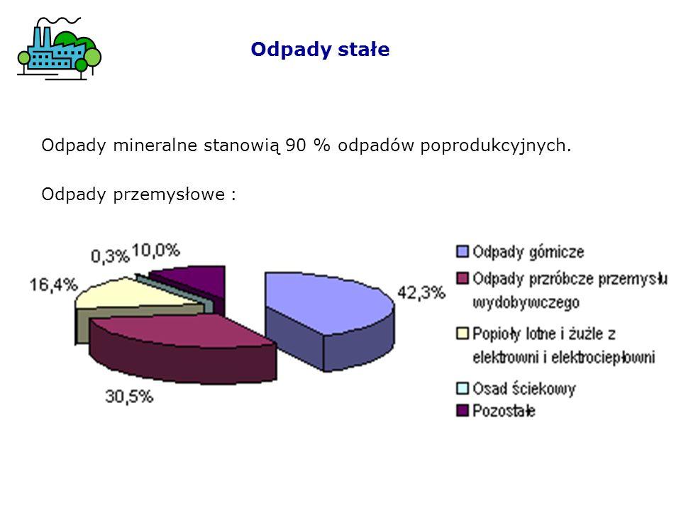 Odpady stałe Odpady mineralne stanowią 90 % odpadów poprodukcyjnych. Odpady przemysłowe :