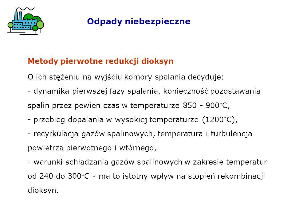 Odpady niebezpieczne Metody pierwotne redukcji dioksyn O ich stężeniu na wyjściu komory spalania decyduje: - dynamika pierwszej fazy spalania, konieczność pozostawania spalin przez pewien czas w temperaturze 850 - 900°C, - przebieg dopalania w wysokiej temperaturze (1200°C), - recyrkulacja gazów spalinowych, temperatura i turbulencja powietrza pierwotnego i wtórnego, - warunki schładzania gazów spalinowych w zakresie temperatur od 240 do 300°C - ma to istotny wpływ na stopień rekombinacji dioksyn.