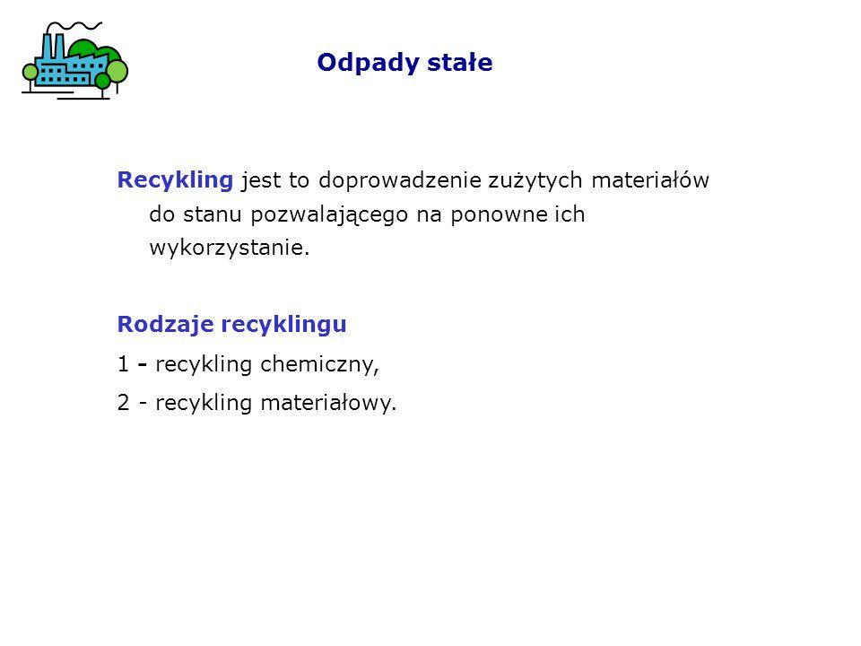 Recykling jest to doprowadzenie zużytych materiałów do stanu pozwalającego na ponowne ich wykorzystanie.