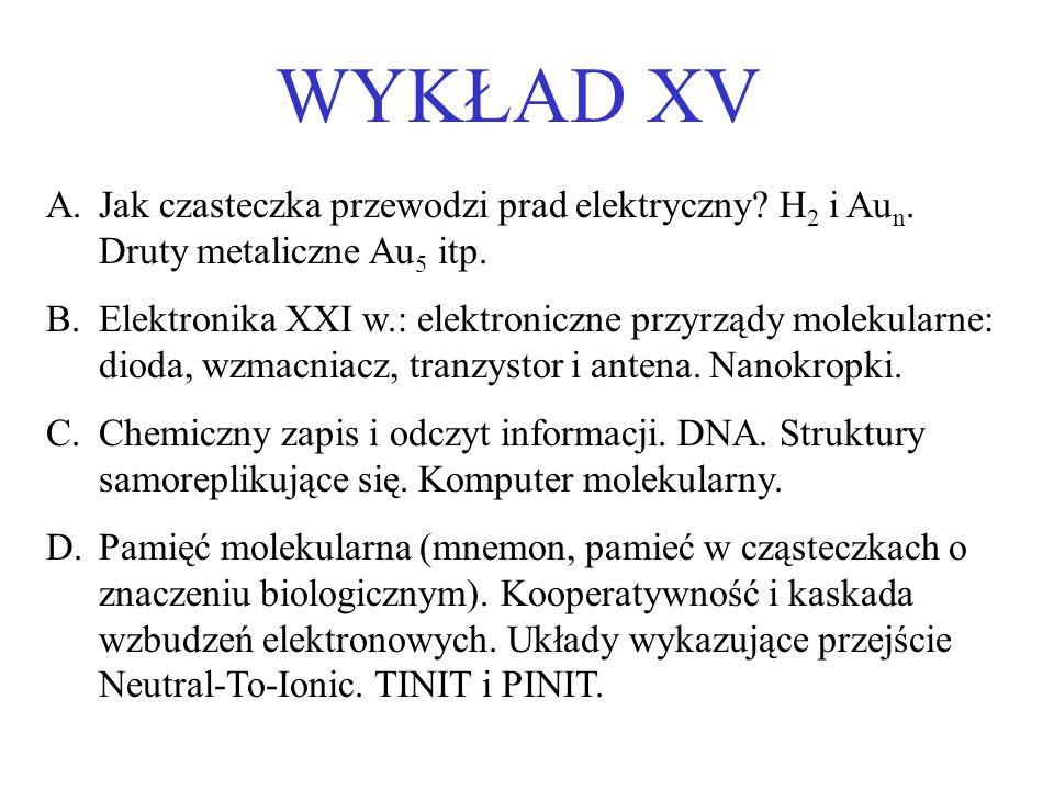 WYKŁAD XV A.Jak czasteczka przewodzi prad elektryczny? H 2 i Au n. Druty metaliczne Au 5 itp. B.Elektronika XXI w.: elektroniczne przyrządy molekularn