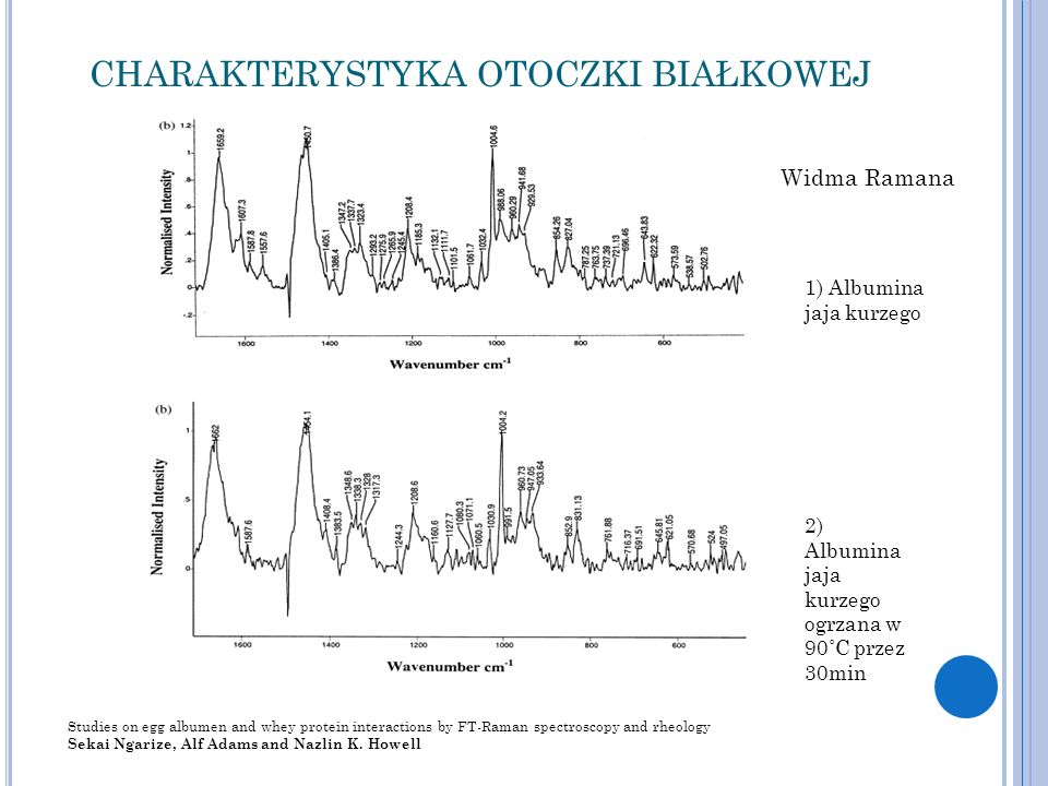 CHARAKTERYSTYKA OTOCZKI BIAŁKOWEJ Studies on egg albumen and whey protein interactions by FT-Raman spectroscopy and rheology Sekai Ngarize, Alf Adams