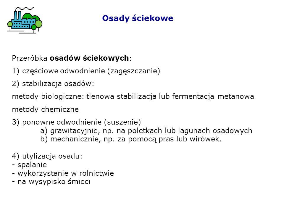 Fermentacja metanowa: 2[CH 2 O] + H 2 O CO 2 + CH 4 Osady ściekowe Fermentacja metanowa