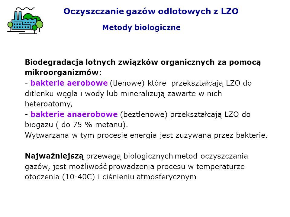 Biodegradacja lotnych związków organicznych za pomocą mikroorganizmów: - bakterie aerobowe (tlenowe) które przekształcają LZO do ditlenku węgla i wody lub mineralizują zawarte w nich heteroatomy, - bakterie anaerobowe (beztlenowe) przekształcają LZO do biogazu ( do 75 % metanu).
